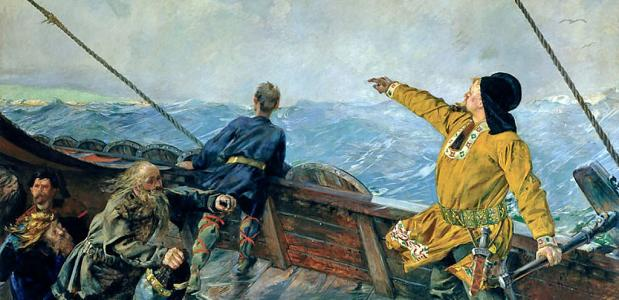 Leif Eriksson Discovers America, Christian Krohg (1893)