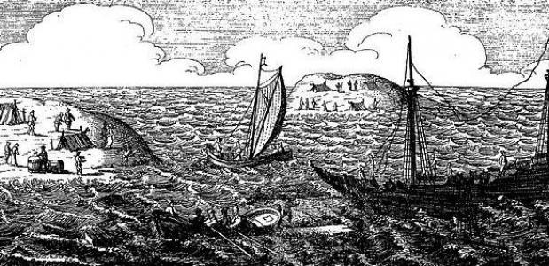 Gravure uit het boek Ongeluckige voyagie, van't schip Batavia, 1647. (Wikimedia Commons)