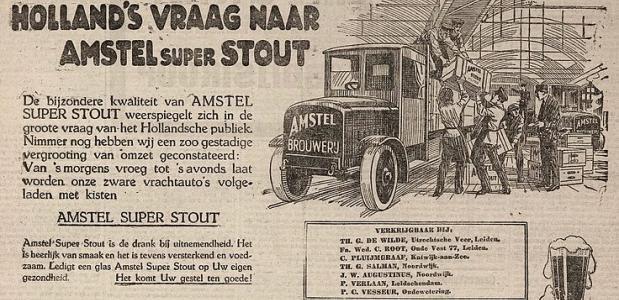 Reclame uit 1922 voor ''Amstel super stout''