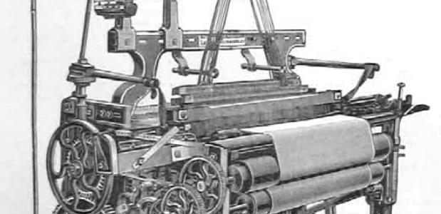 Een weefmachine uit 1890