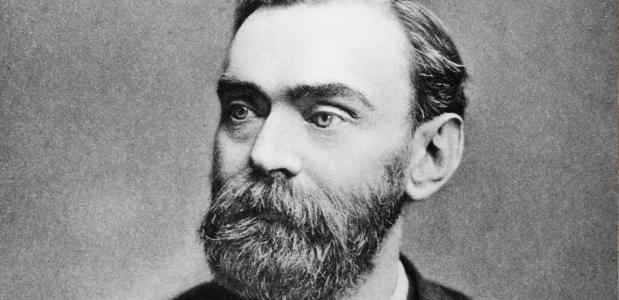 Een portretfoto van Alfred Nobel.