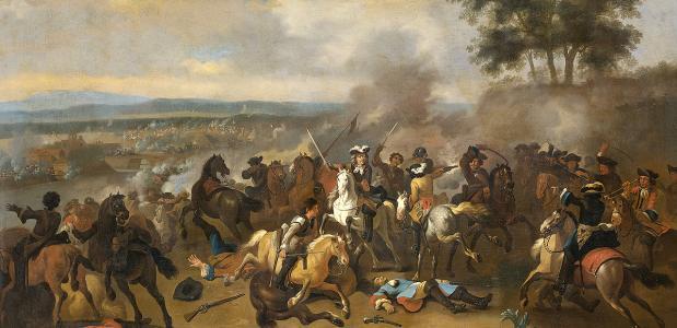 De slag aan de Boyne tussen Jacobus II van Engeland en Willem III van Oranje. Een schilderij van Jan van Huchtenburgh.