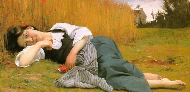 Repos dans les récoltes (1865), William Bouguereau. [Public Domain via Wikimedia Commons]