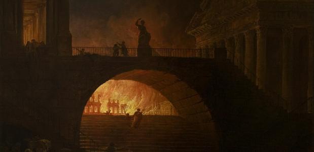 De brand van Rome. Een schilderij door Robert Hubert uit het Musée d'art moderne André Malraux [226], 1785.
