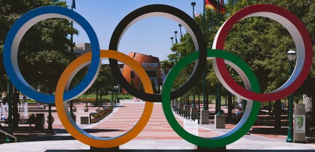 De Wereldberoemde Olympische Ringen in Atlanta, Georgia