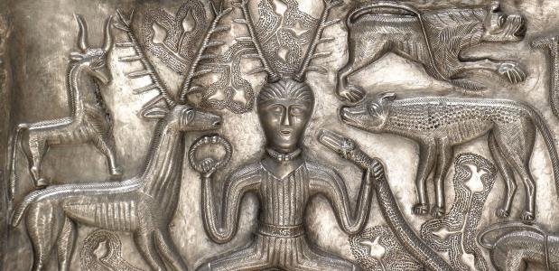 Een afbeelding van Cernunnos op de antieke Ketel van Gundestrup.
