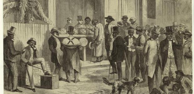 Gravure van stemmende vrijgelatenen. Wikimedia Commons