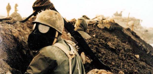 Iraanse soldaat tijdens de Irak-Iran oorlog (jaren tachtig)