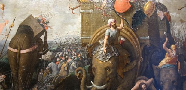 De Slag bij Zama. Een schilderij van Cornelis Cort uit ca. 1570-1600. Bron: Wikimedia Commons.