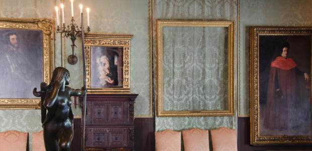 Het lijst waar ooit 'Christus in de storm op het meer van Galilea' van Rembrandt in werd getoond