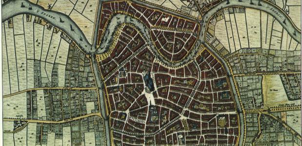 Een historische kaart van Haarlem uit 1652.