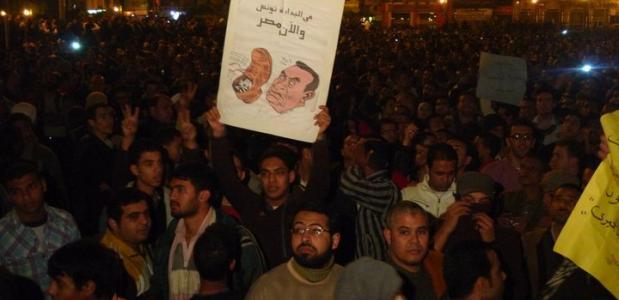 Protest Tahrirplein Caïro tegen Hosni Mubarak