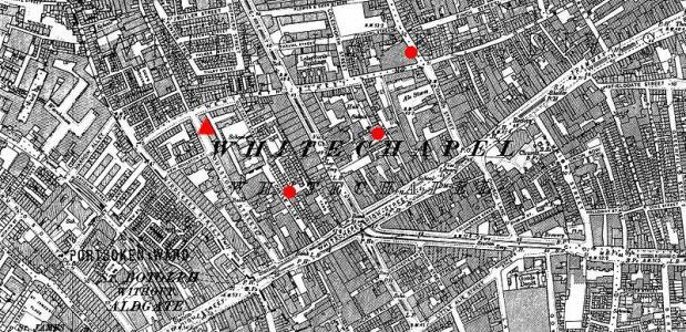 Plattegrond van Londen, op de plekken wwaar Jack the Ripper in 1888 zijn slag sloeg.