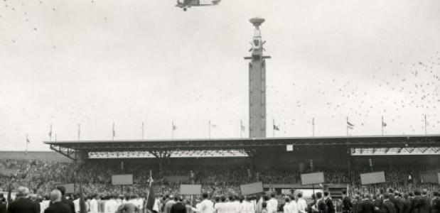 Openingsceremonie van de Olympische Spelen in Amsterdam op 28 juli 1928. Bron: Nationaal Archief Elsevier [ELSEVI 081].