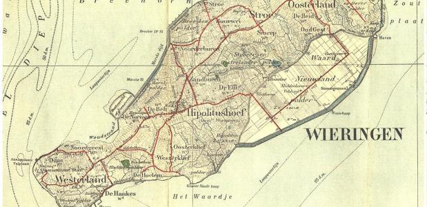 Het eiland Wieringen, dat ooit dienst deed als quarantainestation, in 1909