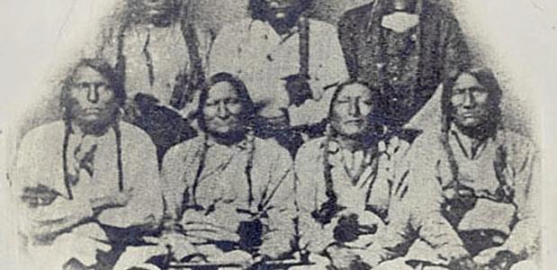 Een delegatie van stamhoofden van de indianenstammen uit Sand Creek
