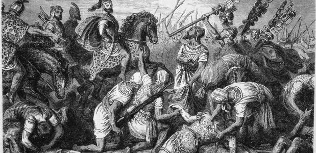 Hannibal bij de Slag van Cannae. Een schilderij van Heinrich Leutemann. Bron: Wikimedia Commons.