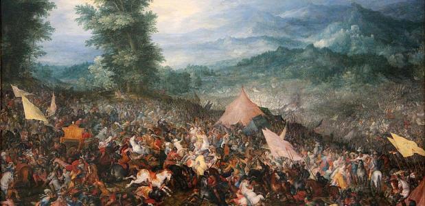 De Slag bij Gaugamela. Een schilderij door Jan Brueghel de Oude uit 1602. Bron: Wikimedia Commons.