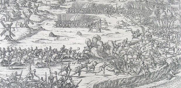 Slagveld bij Winschoten, ets van Frans Hogenberg