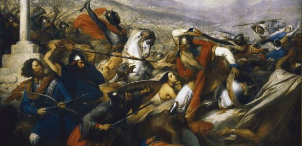 De Slag bij Poitiers. Een schilderij door Charles de Steuben uit 1837. Bron: Wikimedia Commons.