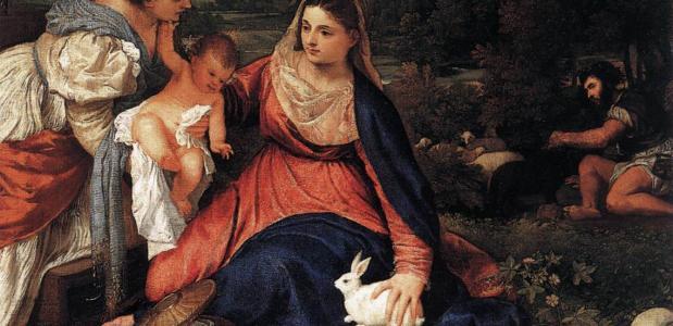 Maria met wit konijn