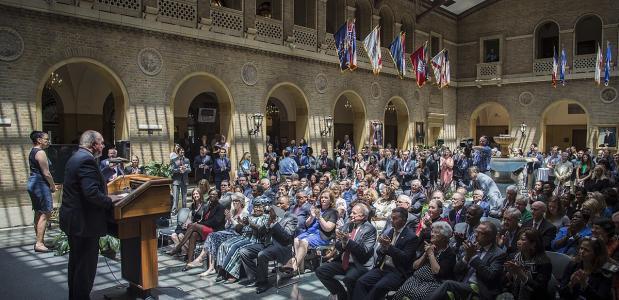 De aankondiging van de Wereldvoedselprijs op 26 juni 2017. Bron: Wikimedia Commons