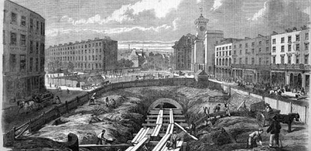 Bouw van een metrolijn in Londen