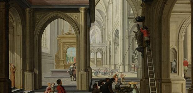Beeldenstorm in een kerk, Dirck van Delen (Wikimedia Commons)