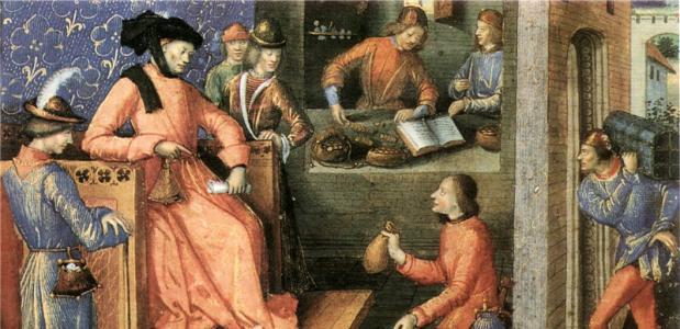 etaling van belastinggeld aan koning Karel V van Frankrijapellek in de 14e eeuw