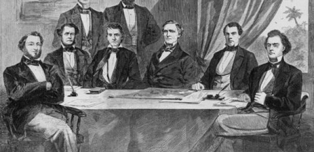 Het kabinet van Jefferson Davis, de eerste president van de Geconfedereerde Staten van Amerika