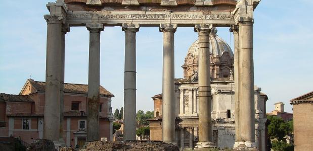 De Tempel van Saturnus op het Forum Romanum Satunaliën