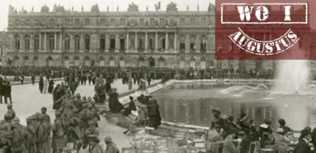 Soldaten bij het paleis van Versailles, 1919.