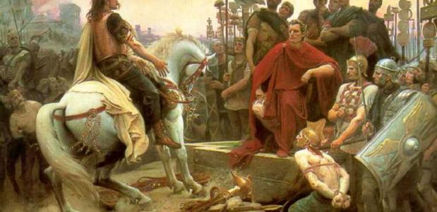 Vercingetorix verslagen door Julius Caesar