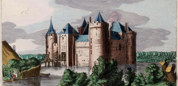 Tekening van het Muiderslot uit 1649.
