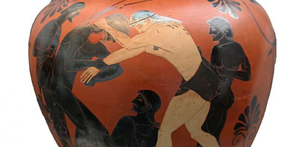 Worstelen op Griekse vaas