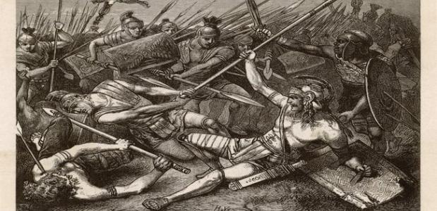 De dood van Spartacus door Hermann Vogel