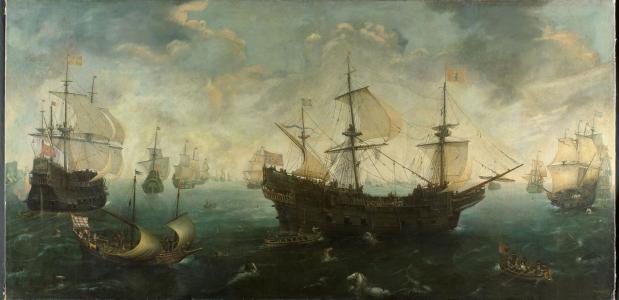 De Spaanse Armada voor de Engelse kust