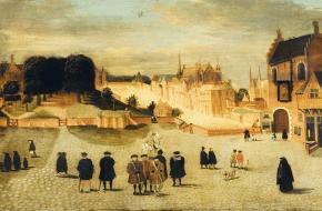 Het Groene Zoodje gezien richting Vijverberg, Hofvijver en Binnenhof, Den Haag, omstreeks 1555 Schilder onbekend, collectie Haag