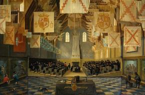 De ridderzaal waarin de Staten-Generaal vergaderden, 1651. (Rijksmuseum)