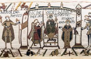 Scene op het tapijt van Bayeux: de kroning van Harold