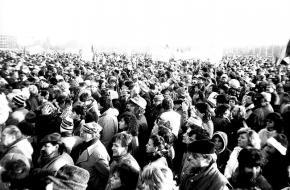 Praag tijdens de Fluwelen Revolutie op 25 november 1989