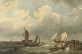 Aan lagerwal raken. Een schilderij door Hermanus Koekkoek. Bron: Wikimedia Commons.