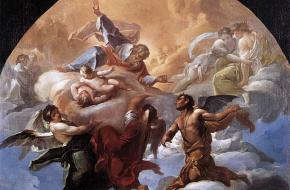 Satan en God. Schilderij van Corrado Giaquinto uit ca. 1750. Bron: Wikimedia Commons.