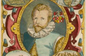 Jan Huygen van Linschoten op 32-jarige leeftijd.