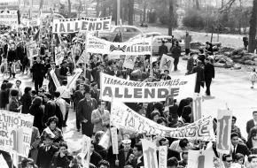 Protesten tegen president Salvador Allende in Chili