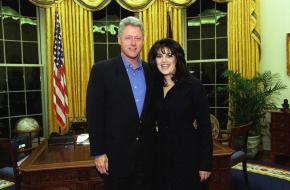 Clinton en Lewinsky in de Oval Office.