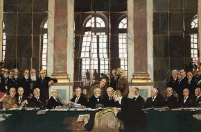 De ondertekening van de vrede in de Spiegelzaal, Versailles 28 juni 1919.