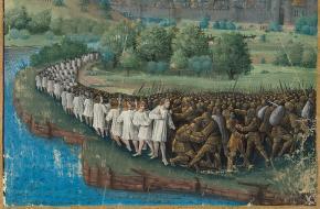 De eerste kruistocht in 1096. Een middeleeuws manuscript van Jean Colombe, ca. 1474.