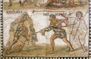 Mozaïek uit de 4e eeuw n.Chr. van twee gladiatoren, Astyanax en Kalendio. Bron: Nationaal Archeologisch Museum Madrid.