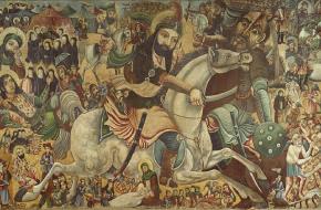Martelaar Hoessein vecht de slag bij Karbala tegen Mu'awiya